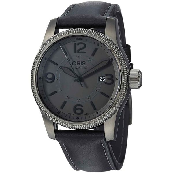 Oris Men's 'Big Crown' Grey Dial Black Leather Strap Automatic Watch