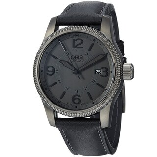 Oris Men's 'Big Crown' Grey Dial Black Leather Strap Automatic Watch