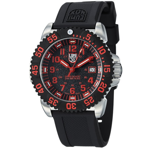 Luminox Men's 'Colormark' Black Dial Rubber Strap Date Quartz Watch