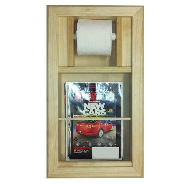 Bevel Frame Recessed Magazine Rack Toilet Paper Holder Combo 14906376