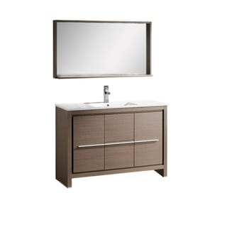 Fresca Allier 48-inch Grey Oak Modern Bathroom Vanity with Mirror