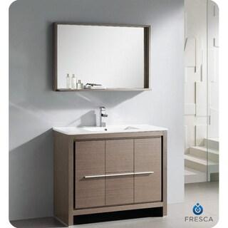 Fresca Allier 40-inch Grey Oak Modern Bathroom Vanity with Mirror