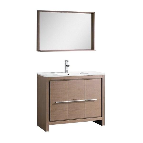 Fresca Allier 36 Inch Grey Oak Modern Bathroom Vanity With Mirror