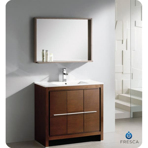 Fresca Allier 36 Inch Wenge Brown Modern Bathroom Vanity With Mirror Overst
