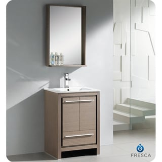 Fresca Allier 24-inch Grey Oak Modern Bathroom Vanity with Mirror