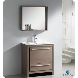 Fresca Allier 30-inch Grey Oak Modern Bathroom Vanity with Mirror