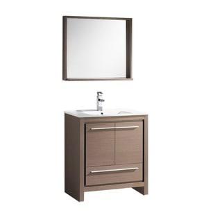 Fresca Allier 30-inch Grey Oak Modern Bathroom Vanity with Mirror