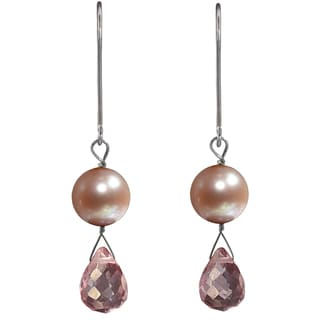 Ashanti Sterling Silver Pearl and Pink Quartz Earrings (Sri Lanka)