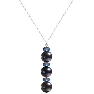 Ashanti Sterling Silver Black Pearl and Quartz Necklace (Sri Lanka)