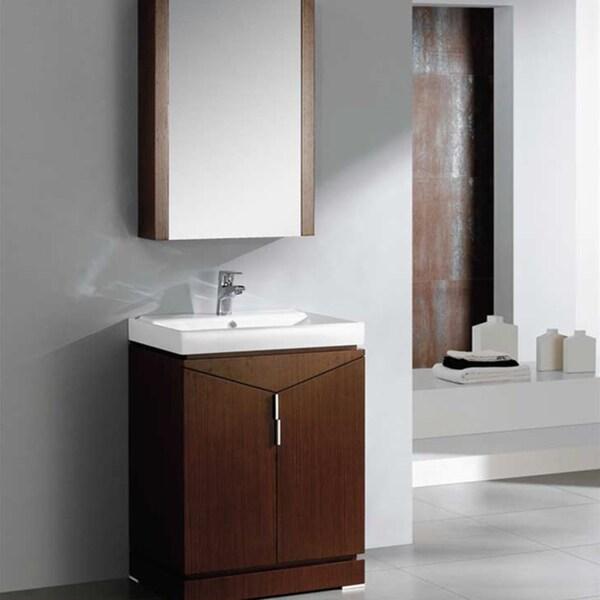 Fresca Elissos 24-inch Wenge Brown Modern Bathroom Vanity with Medicine Cabinet