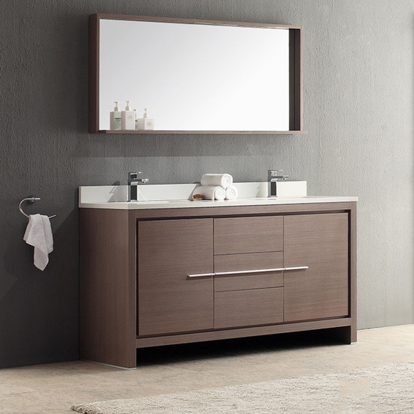 Modern 61 double sink bathroom vanity set honey oak wbrushed nickel - Modern bathroom vanity double sink ...