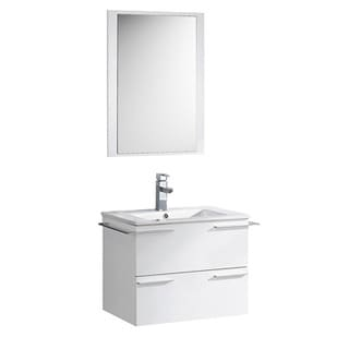 Fresca Cielo 24-inch White Modern Bathroom Vanity with Mirror