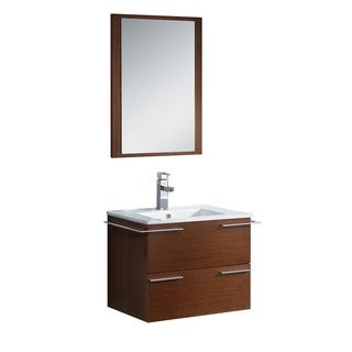 Fresca Cielo 24-inch Wenge Brown Modern Bathroom Vanity with Mirror
