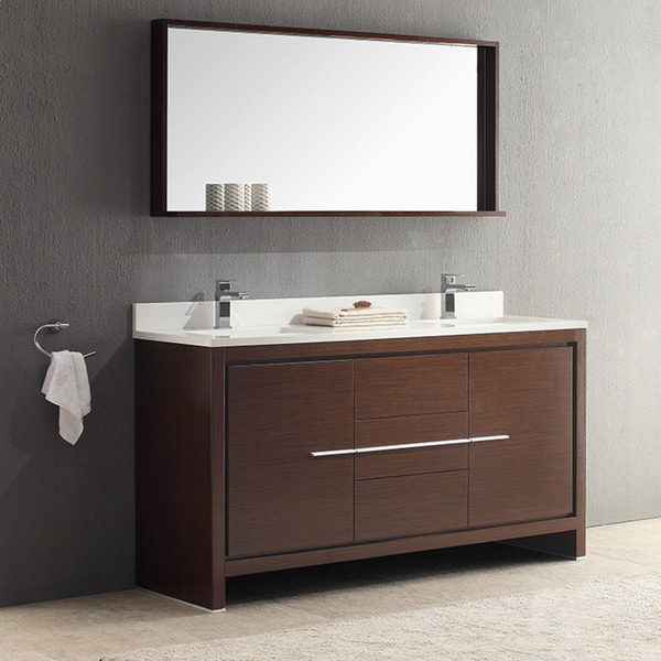 fresca allier 60 inch wenge brown modern double sink bathroom vanity