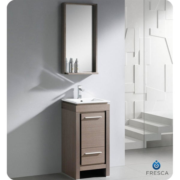 fresca allier 16 inch grey oak modern bathroom vanity with