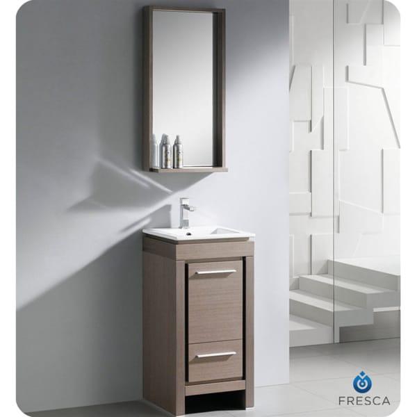 Fresca Allier 16 Inch Grey Oak Modern Bathroom Vanity With