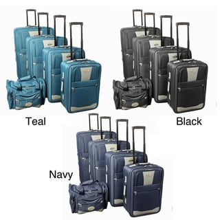 All-inclusive 5-piece Expandable Wheeled Upright Luggage Set