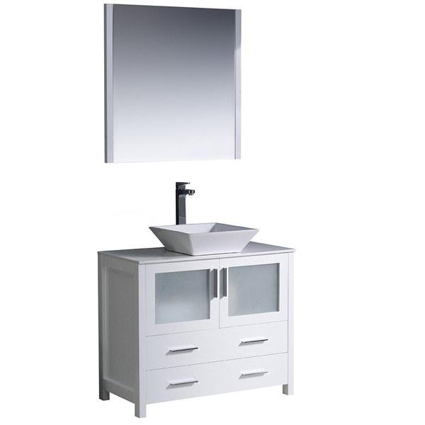 Fresca Torino 36 Inch White Modern Bathroom Vanity With Vessel Sink 1490643