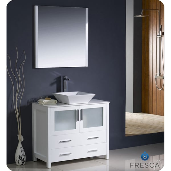 Fresca Torino 36 Inch White Modern Bathroom Vanity With Vessel Sink