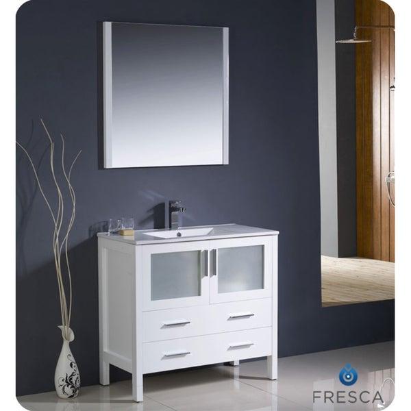 torino 36 inch white modern bathroom vanity with undermount sink