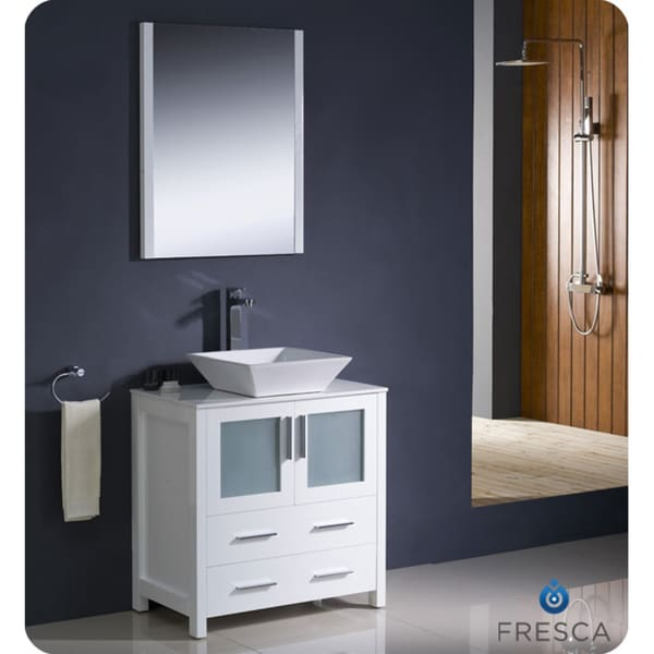 Fresca torino 30 inch white modern bathroom vanity with vessel sink