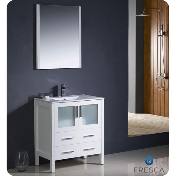 fresca torino 30 inch white modern bathroom vanity with