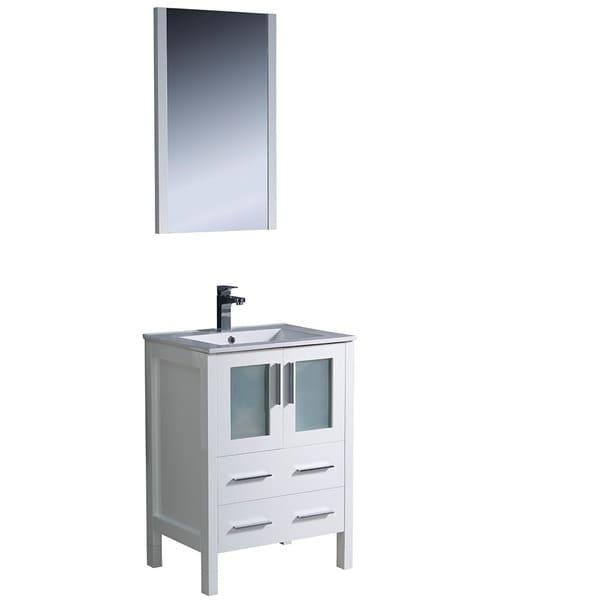 fresca torino 36 inch white modern bathroom vanity with side cabinet