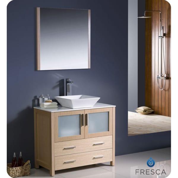 Fresca Torino 36inch Light Oak Modern Bathroom Vanity With Vessel Sink And Faucet