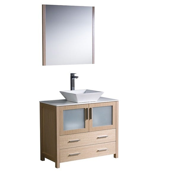 Fresca torino 36 inch light oak modern bathroom vanity with vessel