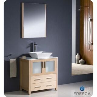Fresca Torino 30-inch Light Oak Modern Bathroom Vanity with Vessel Sink