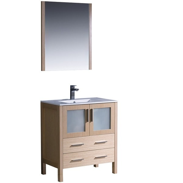 Fresca torino 30 inch light oak modern bathroom vanity with undermount