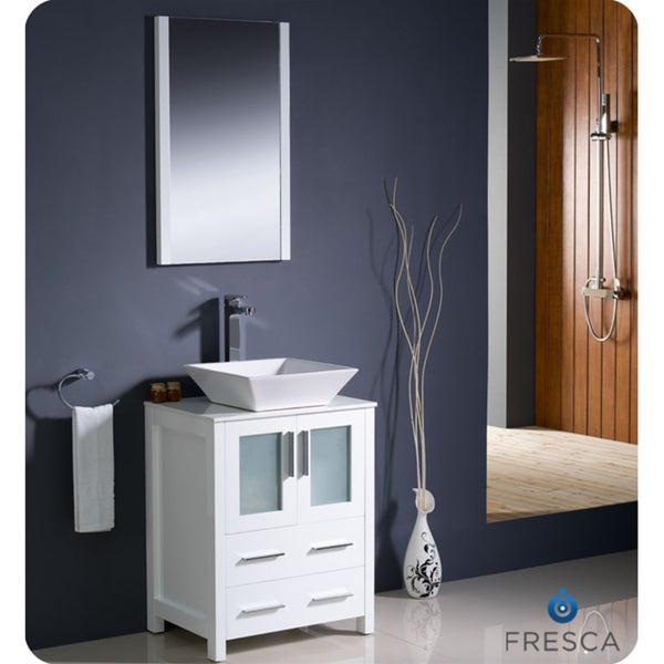 Fresca Torino 24-inch White Modern Bathroom Vanity with Vessel Sink ...
