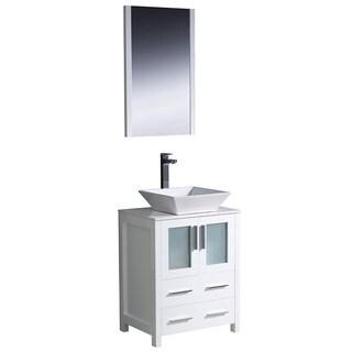 Fresca Torino 24-inch White Modern Bathroom Vanity with Vessel Sink