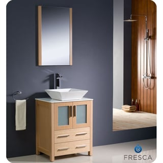 Fresca Torino 24-inch Light Oak Modern Bathroom Vanity with Vessel Sink