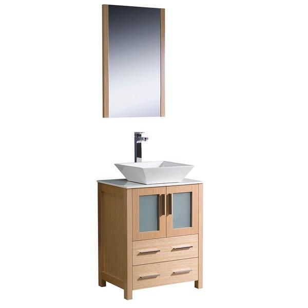 torino 24 inch light oak modern bathroom vanity with vessel sink