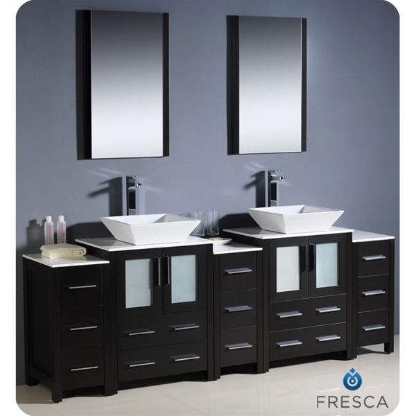 Modern Bathroom Double Vanity With 3 Side Cabinets And Vessel Sinks