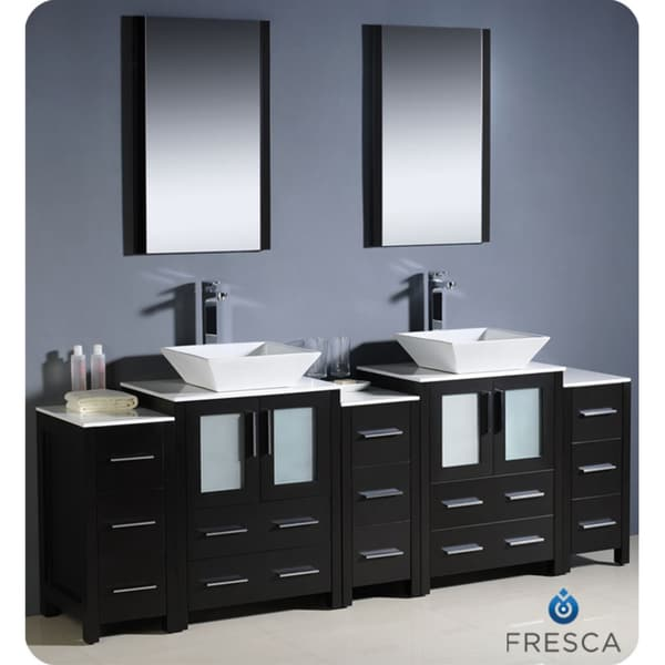 84 inch espresso modern bathroom double vanity with 3 side cabinets