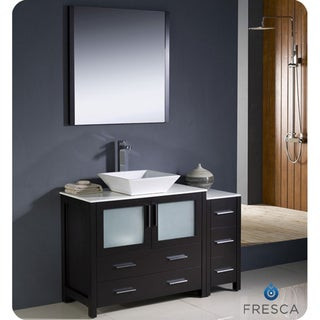 Fresca Torino 48-inch Espresso Modern Bathroom Vanity with Side Cabinet and Vessel Sink