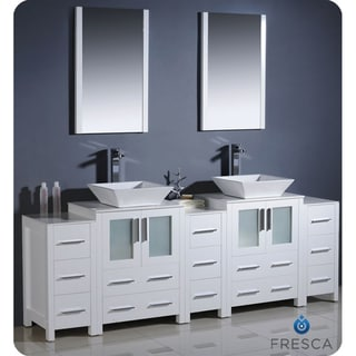 fresca torino 84 inch white modern bathroom vanity with double vessel