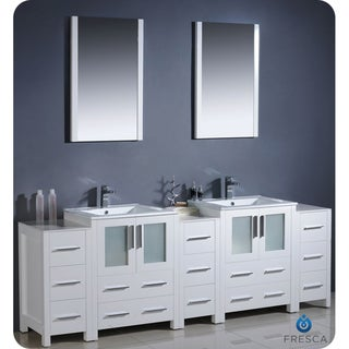 Fresca Torino 84-inch White Modern Bathroom Double Vanity with Side Cabinets and Undermount Sinks