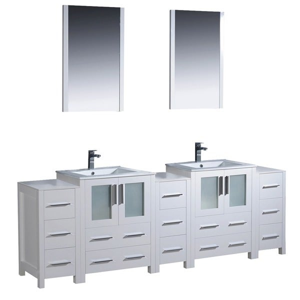 Oak Modern Bathroom Double Vanity With Side Cabinets And Vessel Sinks