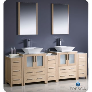 Fresca Torino 84-inch Light Oak Modern Bathroom Double Vanity with Side Cabinets and Vessel Sinks