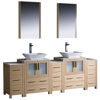 Fresca Torino 84-inch Light Oak Modern Bathroom Double Vanity with Side Cabinets and Vessel Sinks