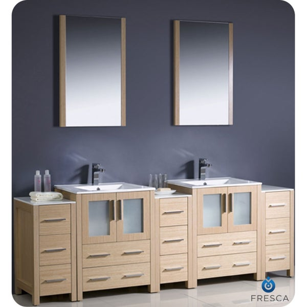 fresca torino 84 inch light oak modern bathroom double vanity with