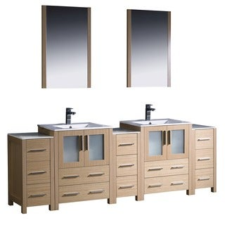 Fresca Torino 84-inch Light Oak Modern Bathroom Double Vanity with Undermount Sinks