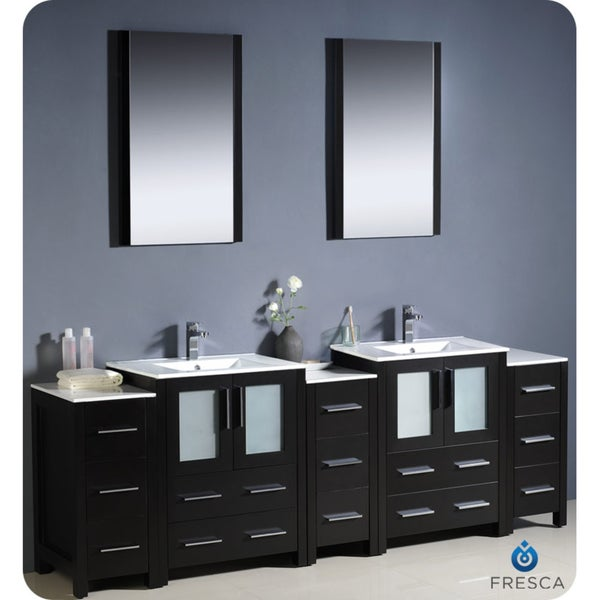 fresca torino 84 inch espresso modern bathroom double vanity with