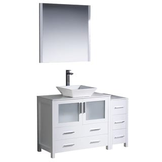 Fresca Torino 48-inch White Modern Bathroom Vanity with Side Cabinet and Vessel Sink
