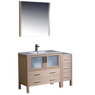Fresca Torino 48-inch Light Oak Modern Bathroom Vanity with Side Cabinet and Undermount Sinks
