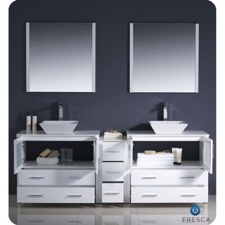 Fresca Torino 84-inch White Modern Double Sink Bathroom Vanity w/ Side Cabinet & Vessel Sinks