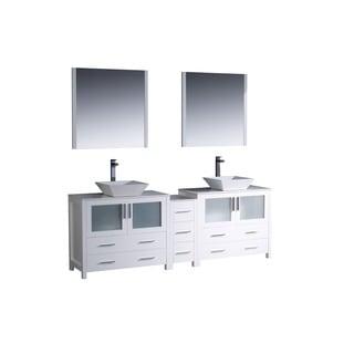 Fresca Torino 84-inch White Modern Double Sink Bathroom Vanity w/ Side Cabinet & Vessel Sinks